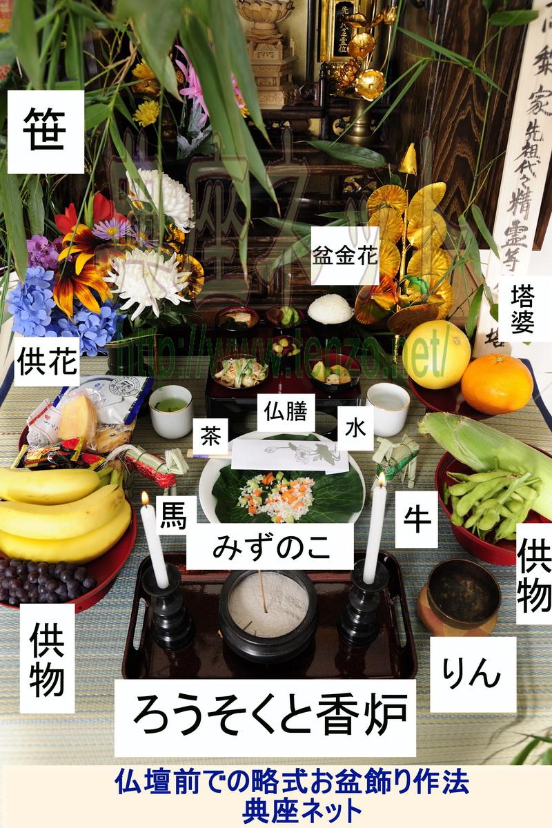 仏壇前での略お盆飾り作法